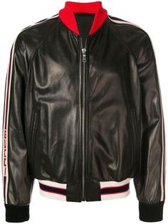 Gucci куртка-бомбер с полосатой отделкой