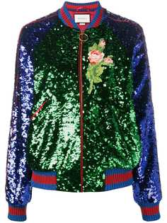 Gucci куртка-бомбер с пайетками