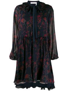 Chloé платье с оборками и цветочным принтом
