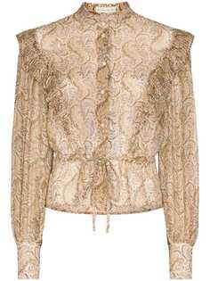Etro блузка с принтом пейсли и оборками