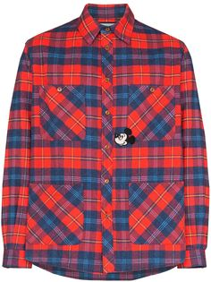 Gucci клетчатая рубашка Mickey Mouse из коллаборации с Disney