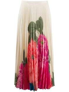 Valentino плиссированная юбка с цветочным принтом