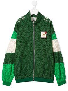 Gucci Kids куртка-бомбер из цветочного кружева