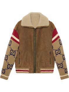 Gucci куртка с вязаными рукавами и воротником из овчины