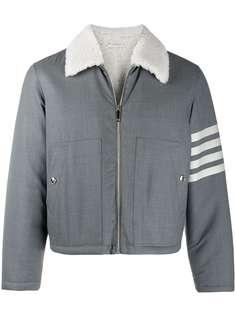 Thom Browne куртка с меховой отделкой и полосками 4-Bar