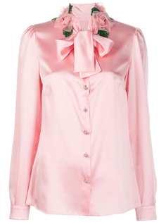 Dolce & Gabbana блузка с бантом и цветочным декором