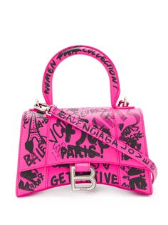 Balenciaga сумка-тоут Hourglass XS с принтом граффити