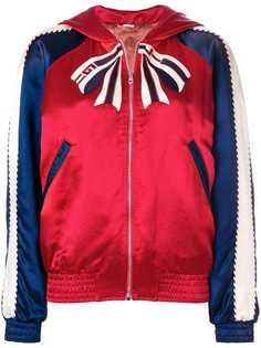 Gucci куртка-бомбер в стиле колор-блок с вышивкой