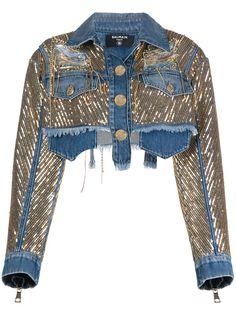 Balmain джинсовая куртка с пайетками