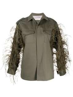 Valentino куртка в стиле милитари с отделкой перьями