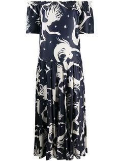 Valentino платье с принтом и складками