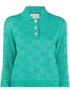 Gucci укороченная рубашка-поло с блестками и узором GG