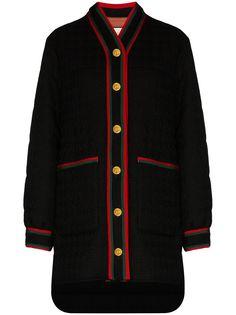 Gucci твидовое пальто-пуховик с отделкой Web