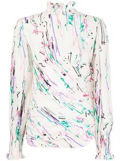Isabel Marant блузка с абстрактным принтом и высоким воротником