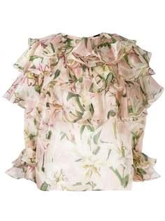 Dolce & Gabbana блузка с принтом и оборками