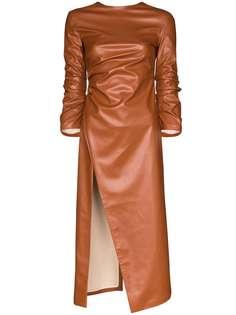 A.W.A.K.E. Mode платье миди из искусственной кожи с разрезом