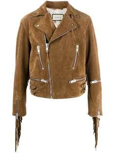 Gucci байкерская куртка с бахромой