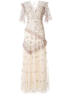 Needle & Thread длинное платье с цветочной вышивкой