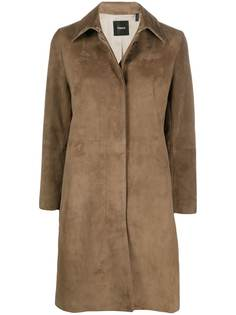 Theory однобортное замшевое пальто