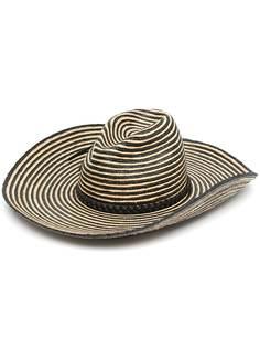 Saint Laurent полосатая шляпа с широкими полями