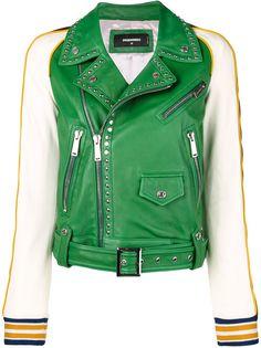 Dsquared2 контрастная кожаная куртка с заклепками