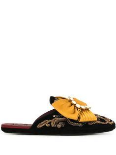 Dolce & Gabbana слиперы с вышивкой и бантом