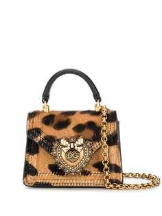 Dolce & Gabbana мини-сумка Devotion с леопардовым принтом
