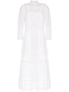 MIMI PROBER платье макси Victoria с высоким воротником и кружевной вставкой