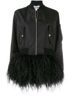 Moschino куртка-бомбер с отделкой перьями