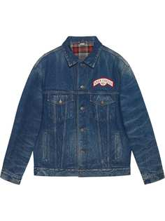 Gucci джинсовая куртка в стиле оверсайз с нашивками