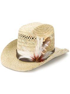 Saint Laurent ковбойская шляпа с перьями