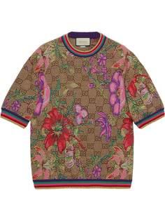Gucci футболка с узором GG Supreme и принтом Flora