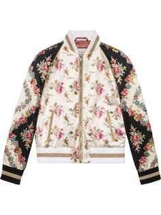 Gucci куртка-бомбер с цветочным принтом
