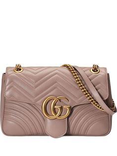 Gucci средняя стеганая сумка на плечо GG Marmont