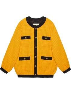Gucci твидовая куртка-бомбер свободного кроя