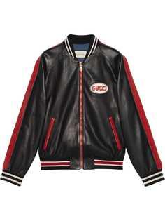Gucci куртка-бомбер с нашивкой логотипа