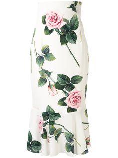 Dolce & Gabbana юбка миди с принтом Tropical Rose