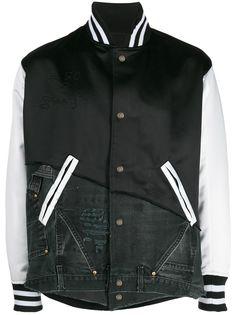 Greg Lauren атласная куртка-бомбер со вставками из денима