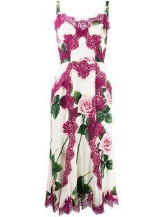 Dolce & Gabbana платье с принтом и кружевом