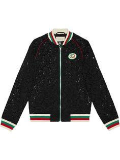 Gucci куртка-бомбер с цветочным кружевом