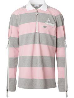 Burberry полосатая рубашка-поло с длинными рукавами