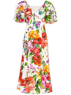 Dolce & Gabbana платье с цветочным принтом и оборками