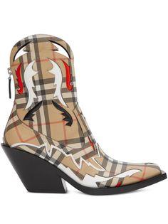 Burberry ковбойские ботинки в клетку Vintage Check с аппликацией