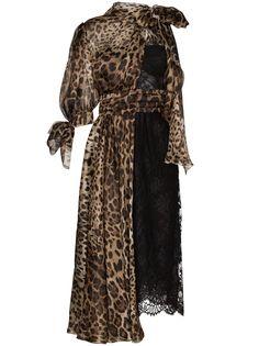 Dolce & Gabbana платье миди с леопардовыми вставками