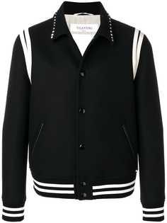 Valentino куртка-бомбер с заклепками на воротнике