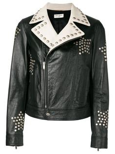 Saint Laurent байкерская куртка с заклепками