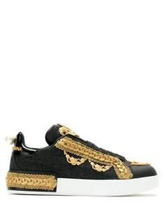 Dolce & Gabbana декорированные кроссовки на шнуровке