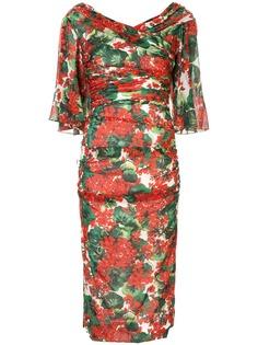 Dolce & Gabbana платье миди с принтом Portofino