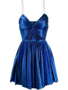 Saint Laurent плиссированное платье мини с эффектом металлик