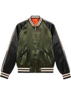 Gucci двухсторонняя куртка-бомбер с принтом на рукавах